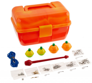 A tackle box to go with a child's first fishing rod.