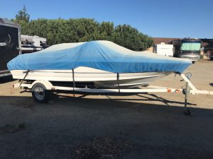 Tilting the trailer is part of winterizing boats.